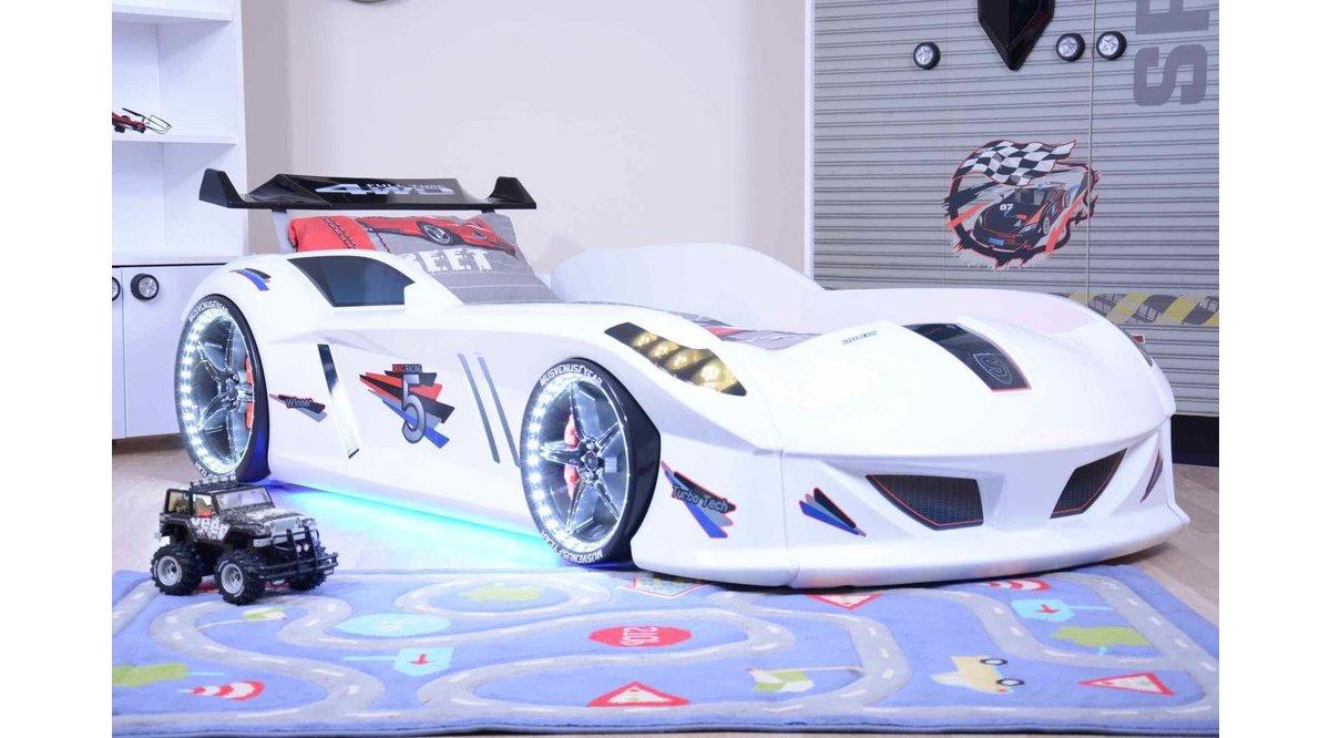 Jaguar Beyaz Full Ledli Arabalı Yatak