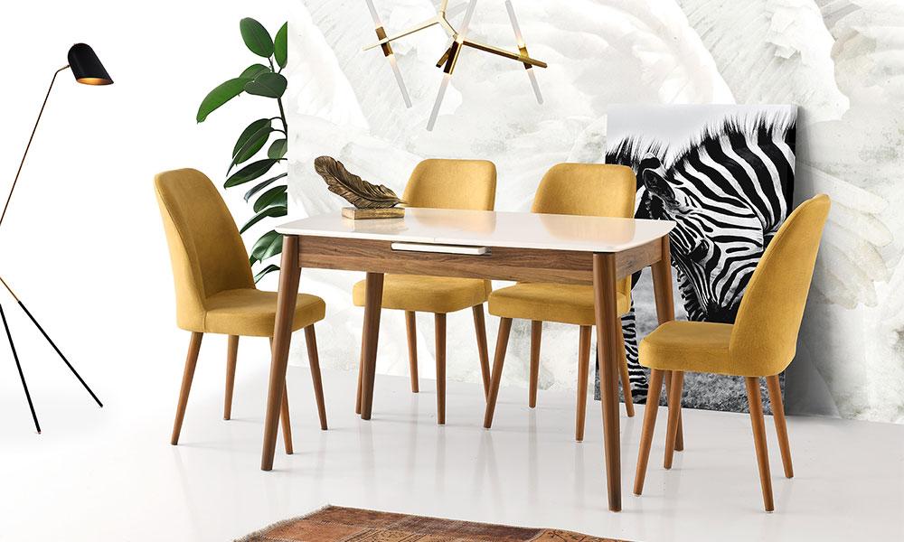 Lotus Beyaza Ceviz Masa  Gül Sandalye