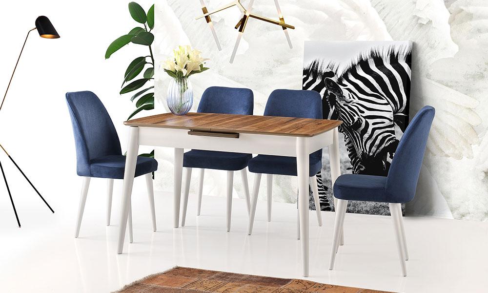 Lotus Ceviz Beyaz Masa Gül Sandalye