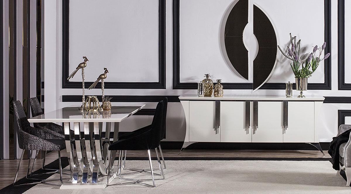 Madrid  Luxury Beyaz Yemek Odası Takımı