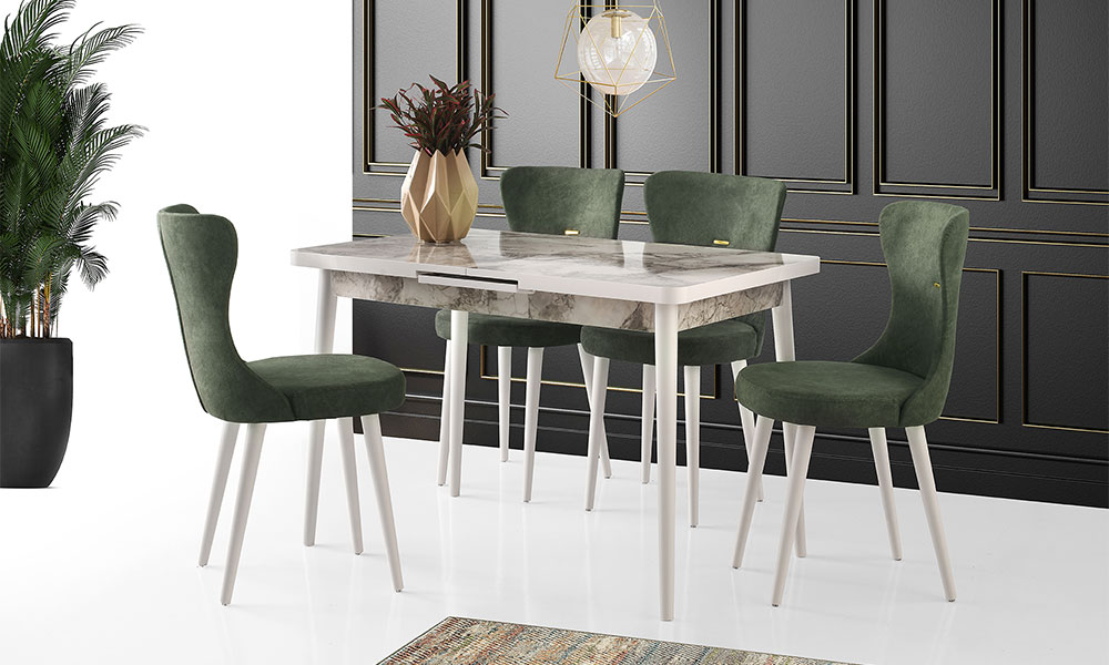 Melisa Beyaz Mermer Masa Kelebek Sandalye