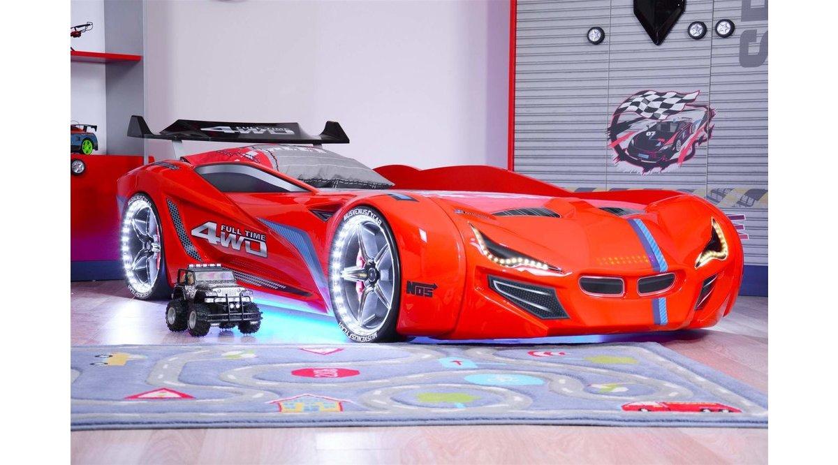Mercedes Kırmızı Full Ledli Arabalı Yatak