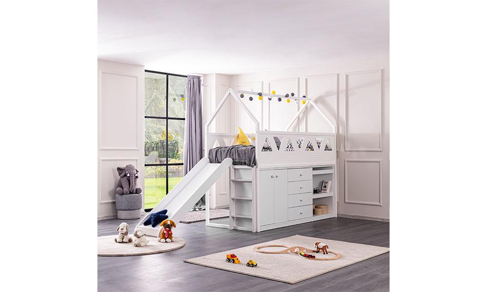 Oyun Evi Montessori Kaydıraklı Karyola Beyaz